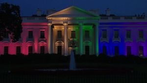 white house decked out in rainbow colors