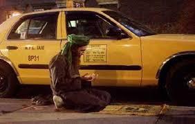 Muslim taxi drivier praying