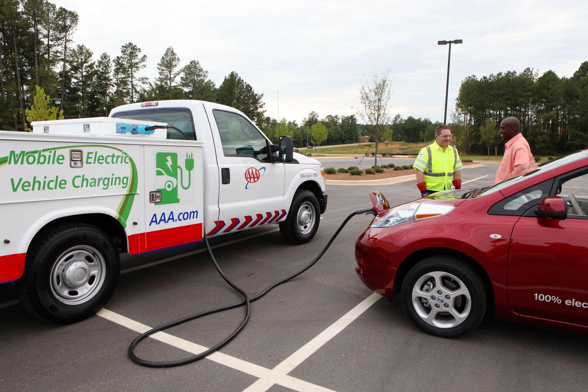 electric car needing a charge